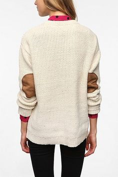 ivory sweater with elbow patches from Urban Outfitters SMALL