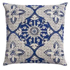 Blue BatikPatterned Pillow Cotton Pillow with Down and Feather Insert