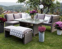 Hagemøbel, spisebordgruppe med høyt spisebord. www.krogh-design.no/hage