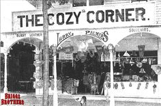This is Larry Palmer's souvenir shop, The Cozy Corner. It was located along the eastern end of Park Ave across from the Commons area. It was also among the buildings destroyed in the 1908 fire, but then was quickly rebuilt for the coming summer season. As you can see in the photo, The Cozy Corner sold burnt leather, post cards, ribbons, little boats, framed pictures, glass plates, and other assorted knick-knacks. Amazingly, some of these items still pop up today in online auctions.