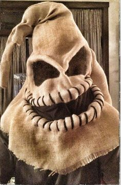 DIY scary halloween masks burlap monster costume