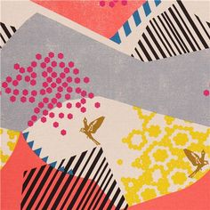 Landscape in Pink and Grey - Echino by Kokka Cotton Canvas Fabric Half Metre