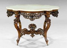 c1850 Roccoco center table, laminated rosewood, J&JW Meeks, NYC, Hartford pattern, 31l, 5-34..