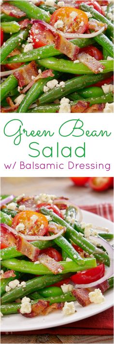 Colorful salad with crisp-tender green beans, juicy cherry tomatoes, red onions, blue cheese, and bacon tossed in a bright homemade balsamic vinaigrette.
