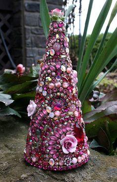 Jeweled Tree with Roses Vintage Rhinestones Pinks Jewelry