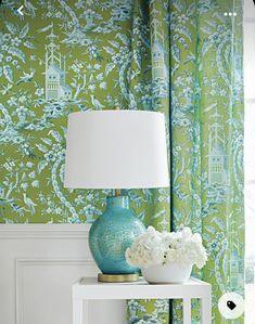 Chinoiserie Wallpaper, Chinoiserie Chic, Pagoda Garden, Purple Rooms, Green Wallpaper, Beautiful Wallpaper, Bird Wallpaper, Bathroom Wallpaper, Custom Drapes