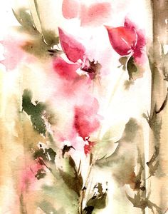 Abstract Flowers Watercolor Painting Art Print, Pink Green Floral Modern Abstract Watercolor Art