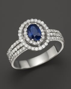 Diamond and Sapphire #Ring in 14K White Gold | Bloomingdales