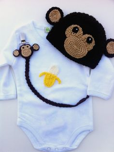 Crochet Handmade Monkey Onesies, Outfit,  And Accessories Baby Pacifier Clip, Gift Kit Idea