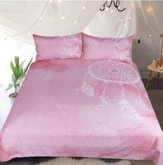 Dreamcatcher-Duver-Cover-Bedding-Set-Pink-Watercolor-Bedclothes-Pillowcase-New