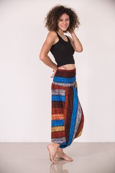 Boho Rust Striped Low-Cut Women's Harem Pants