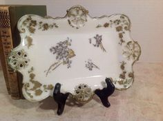 Pretty Milk Glass Tray with Hand Painted by PeetsLittlePicker