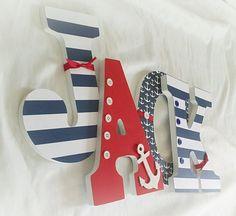 Boy nursery letters nautical letters by JessCreativeCorner on Etsy