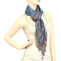 Blue and Multi Colored Scarf