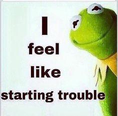 Kermit I Feel Like Trouble Starting Funny Kermit Memes, Haha Funny, Funny Jokes, Funny Stuff, Funny Shit, Random Stuff, Good Morning Images, Frog Quotes, Tea Quotes