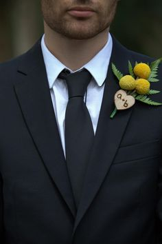 initials - wood heart (not boutonniere style)