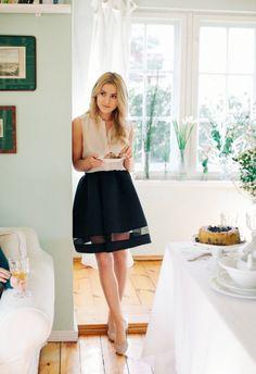 striped mesh black bell skirt