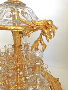 1stdibs.com | Highly Rare and Unusual Mechanical Gilt Bronze and Crystal Tantalus1890 - contents