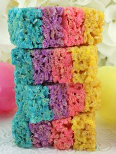Everyone loves Rice Krispie Treats and these Celebration Rice Krispie Treats will be no exception. This colorful and delicious Easter dessert would also be great for Mother's Day or a Spring Brunch. So delicious and so easy to make you'll want to make these yummy marshmallow treats over and over again. Pin this fun Easter Treat for later and Follow us for more great Easter Food Ideas.