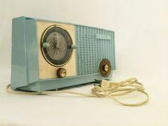 RCA Victor Radio, AM Radio, Vintage, Made in U.S.A., 1953-1963, Blue, Turquoise. $40.00, via Etsy.