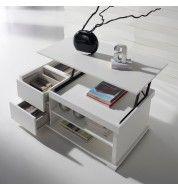 Table basse blanche relevable tiroirs et plateau Concept