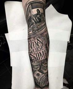 Pin by alek on arm tattoo tatuering Money Tattoo, Tattoo On, Chest Tattoo, Forarm Tattoos, Chicano Tattoos, Life Tattoos, Tattoo Sleeve Designs, Tattoo Designs Men, Sleeve Tattoos