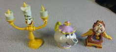 Disney Beauty and Beast Mrs Potts Lumiere Cogsworth Bend Ems Just Toys PVC LOT…