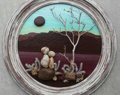 Pebble Art / Rock Art string of beautiful black by CrawfordBunch