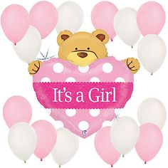 Girl Teddy Bear - Baby Shower Balloon Kit | BigDotOfHappiness.com #BigDot #HappyDot