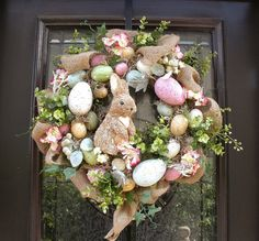 Easter Wreaths for Front Door | Easter Egg Wreath, Easter Bunny Wreath, Front Door Wreath Burlap ...