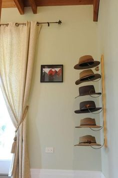 Storage Solutions for Accessories, Home Storage and Organization Tips Cute Hat Organization--I need to do something like this. MoreCute Hat Organization--I need to do something like this. Wall Hat Racks, Diy Hat Rack, Baseball Hat Racks, Baseball Display, Baseball Cap, Cowboy Hat Rack, Cowboy Hats, Hanging Hats, Home Organization