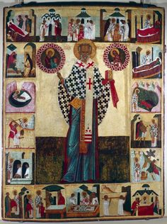 1753: Icon of St Nicholas, Russian. The central portrait is surrounded by 18 scenes from his life. The model for Santa Claus due to his reputation for secret gift-giving, St Nicholas (300-399)