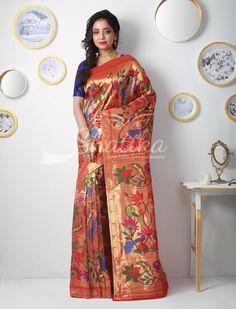 Jijabai Bel Of Blossom On Paper Gold Zari Double Turning Paithani Silk Saree