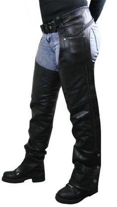 Xelement Womens Braided Black Leather Chaps