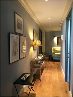 This hallway is painted in Down Pipe (left) and Lamp Room Gray (right) and was recently uploaded to our Inspiration Site! Found on https://www.facebook.com/farrowball/photos/a.155388221174154.27023.144488268930816/842882689091367/?type=1&theater