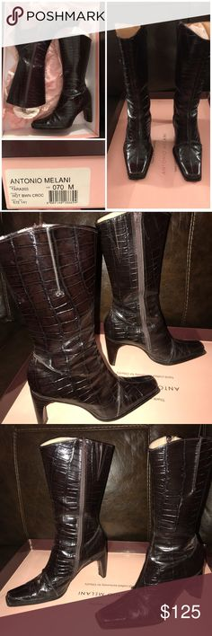 Antonio Melani Brown Croc Boots - 7 EUC Antonio Melani Brown Croc Boots - 7 EUC These are to big for me & have only been worn a hand full of times. I had a black pair that was a 6.5 & I loved them, literally to death, until I couldn't wear them anymore. These are very comfortable boots!! Please see pictures for wear & feel free to ask questions. ANTONIO MELANI Shoes Heeled Boots