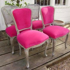 The new eye-catching look features a faux finish and hot pink velvet upholstery.