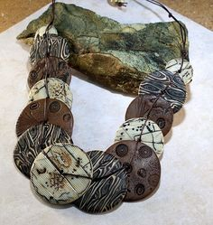 cabinfeverclay: a necklace made using several different polymer clay faux techniques. From a published design by Sophie Arzalier.