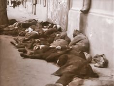 Civilians butchered by the Germans in the city of Rostov.