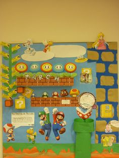 Super Mario library bulletin board display