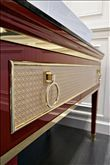 Lutetia collection by Oasis Group brass metal trim vanity cabinet