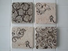 Coasters made from stone tile squares found at Home Depot, Lowe's, etc....very cute! Scroll down to see the instructions. The Huckaby's Happily Ever After: Craft Inspirations and DIY:
