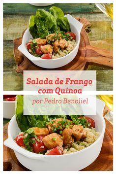 Saudável, prática e deliciosa: são algumas das qualidades da salada de frango com quinoa feita pelo Chef Pedro Benoliel.