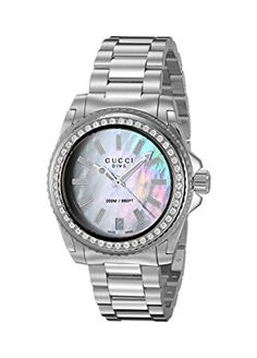 Gucci Women's Swiss Quartz Stainless Steel Dress Watch, Color:Silver-Toned (Model: YA136406) - Swiss Made ETA quartz movement; Bezel set with 45 diamonds, total 0.47 ct; Swiss-quartz Movement; Case Diameter: 32mm; Water resistant 200m (660ft): in general, suitable for professional marine activity and serious surface water sports, but not diving.(affiliate link)