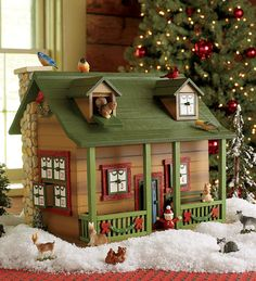 Whimsical Woodland Advent Cabin with Wildlife Surprises - How adorable is it?? SUPER ADORABLE!