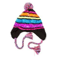 Rainbow Striped Chenille Trapper Hat