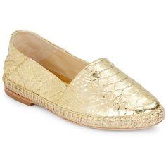 Alexandre Birman Metallic Python Espadrille Flats ($250) ❤ liked on Polyvore featuring shoes, flats, gold, metallic flats, slip on flats, metallic gold shoes, flat shoes and metallic espadrilles
