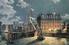 John Stobart - Milwaukee: Huron Street By Moonlight in 1890. Limited edition print from original the oil painting. Size: 12″ x 18 1/4″ Edition: 350 -- on ScrimshawGallery.com #JohnStobart #Stobart