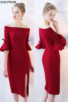 Shop Off Shoulder Burgundy Mermaid Party Dress with Bell Sleeves online. SheProm offers formal, party, casual & more style dresses to fit your special occasions. Trendy Dresses, Simple Dresses, Sexy Dresses, Cute Dresses, Short Dresses, Fashion Dresses, Formal Dresses, Party Dresses, Wedding Dresses