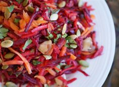 Raw Raw for Spring! Crimson Salad with Pecans and Pumpkin Seeds